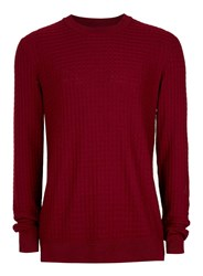 Topman Burgundy Square Textured Viscose Sweater