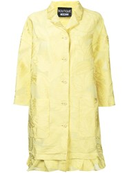 Boutique Moschino Leaf Patterned Ruffle Hem Coat Women Cotton Nylon Polyester 44 Yellow Orange