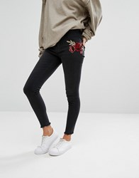 New Look Embroidered Patch Skinny Jeans Black