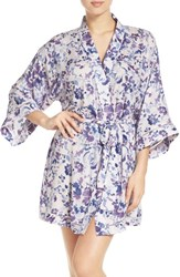 Nordstrom Women's Lingerie 'Sweet Dreams' Print Robe Purple Tint Watercolor Floral