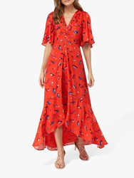 Monsoon Natalie Feather Print Dress Red