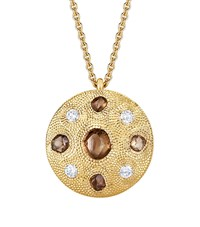 De Beers Small Yellow Gold Talisman Medal Necklace Multi