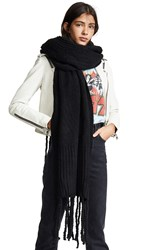 Free People Jaden Ribbed Fringe Blanket Scarf Black