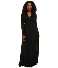 Rachel Pally Plus Plus Size Long Sleeve Full Length Caftan Black Women's Dress