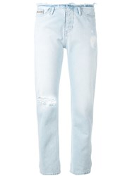 Calvin Klein Jeans Ripped Detail Straight Women Cotton 30 Blue