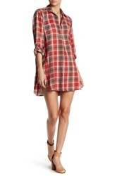 En Creme Plaid Boyfriend Shirt Dress Red