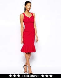 Hybrid Pencil Dress With Wrap Front And Peplum Hem Red