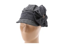 San Diego Hat Company Ebh9864 Flower Button Cabbie Black Traditional Hats