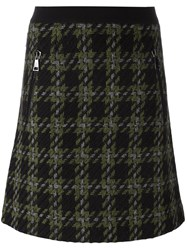 Moncler Classic Checked A Line Skirt Black