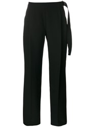 Carven Wide Leg Trousers Women Polyester Acetate Viscose 40 Black