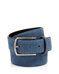 Canali Braided Suede Belt Blue