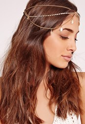 Missguided Leaf Detail Hair Chain Gold Gold