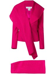 Christian Dior Vintage Waterfull Lapel Skirt Suit Pink And Purple