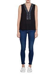 French Connection Karlo Drape Embellished Top Utility Blue