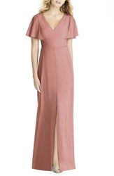 Social Bridesmaids 'S Split Sleeve Chiffon Gown Desert Rose