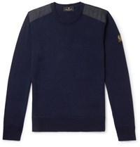 Belstaff Kerrigan Slim Fit Quilted Shell Trimmed Virgin Wool Sweater Blue