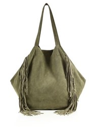 Linea Pelle Sybil Fringed Suede Tote Light Olive