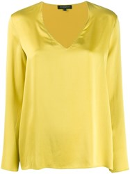 Antonelli V Neck Silk Top Green