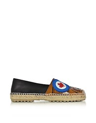 Dsquared2 Hackney Black And Beige Nappa Leather Flat Espadrilles W Patches
