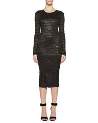 Tom Ford Shirred Leather Sheath Dress Black