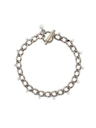 Givenchy Obsedia Faux Pearl Necklace Metal Metallic