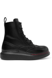 Alexander Mcqueen Leather Exaggerated Sole Ankle Boots Black