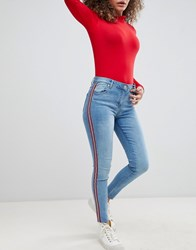 Parisian Cropped Skinny Leg Jeans With Side Stripes Blue