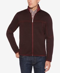 Perry Ellis Men's Full Zip Knit Sweater Port