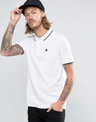Asos Pique Polo Shirt With Tipped Collar And Logo In White White