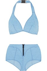 Lisa Marie Fernandez Davina Stretch Denim Halterneck Bikini Light Denim