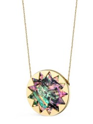 House Of Harlow Abalone Shell Accented Sunburst Necklace Abalone Gold