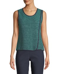 Nic Zoe Scoop Neck Speckled Knit Tank Bright Jade