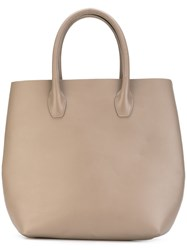 Eleventy Large Flat Tote Women Leather One Size Nude Neutrals