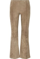 The Row Beca Cropped Stretch Suede Flared Pants Sand