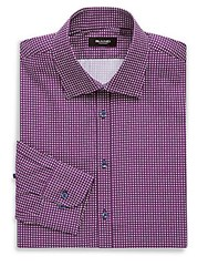 Sand Classic Fit Printed Cotton Dress Shirt Pink