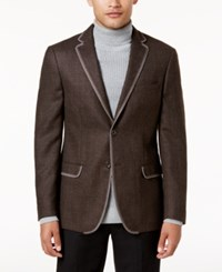 Tallia Men's Slim Fit Brown Melange Sport Coat