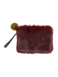 Helen Moore Faux Fur Large Clutch Bag Burgundy