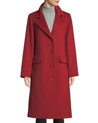 Sofia Cashmere Long Updated Classic Wool Blend Coat Red