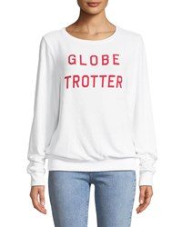 Wildfox Couture Globe Trotter Graphic Crewneck Sweatshirt White