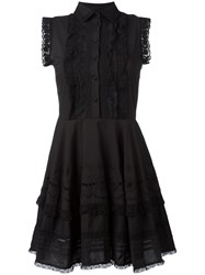 Red Valentino Lace Trim Shirt Dress Black