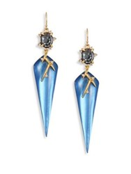 Alexis Bittar Lucite And Crystal Triangle Drop Earrings Blue