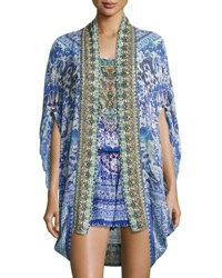Camilla Open Front Embellished Silk Cardigan Cape Coverup Guardian Of Secrets Multi