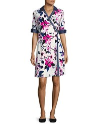 Ivanka Trump Denim Trimmed Floral Wrap Dress Ivory Petunia
