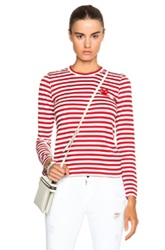 Comme Des Garcons Play Striped Cotton Red Emblem Tee In Stripes Red