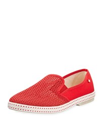 Classic Woven Canvas Slip On Red Rivieras