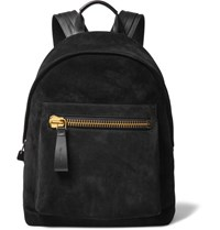 Tom Ford Leather Trimmed Suede Backpack Black