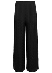 M Missoni Black Wide Leg Zigzag Knit Trousers