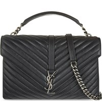 Saint Laurent Monogram College Quilted Leather Satchel Black