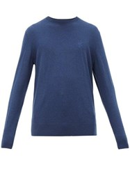 Burberry Logo Embroidered Cashmere Sweater Blue