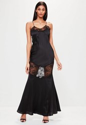 Missguided Black Satin Lace Strappy Maxi Dress